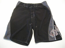 Young Mens O'Neill Board Shorts 28 Black Embroidered Logo Surf Skate Tattoo W28