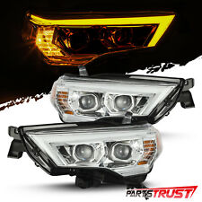 Fit 2014-2020 Toyota 4Runner LED DRL/Signal Projector Headlights Pair Chrome