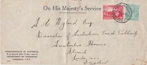 APH2013) Australia 1937 OHMS long envelope Canberra to London. Bears 1/4d C of A