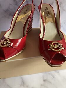 NEW In Box Michael Kors Red Rochelle Sling Wedge Shoe Size 10