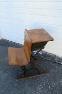 Early 1900s Child School Writing Desk Table with Folding Chair Bench 1215