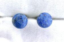 Lapis Lazuli 10mm Round Cabochon Cab Gemstone Silver Color Cufflink Cuff Link