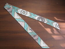 Blue White Grey Silk Twilly Scarf Handbag Tie~100% Silk~Tie Bracelet Head Wrap