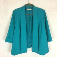 Kasper Blazer Jacket Turquoise Open Front 3/4 Cuffed Sleeve Womens Sz 16W