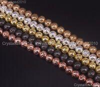 "Natural Volcanic Lava Gemstone Round Beads 4mm 6mm 8mm 10mm 12mm Metallic 15.5"""