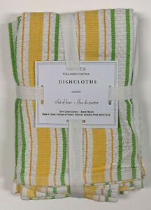 "Williams Sonoma Yellow Classic Striped Dish Cloths S/4 (15"" sq)."