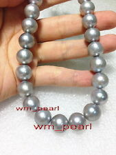 "AAAAA 18""10-11mm REAL ROUND natural south sea silver gray pearl necklace 14K"