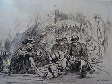 """AUGUSTE ANDRE LANCON """"ENTRE STONNE ET MOUZON"""" 1870 eau forte militariat"""