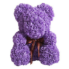 The Rose Bear Purple Forever Artificial Rose Anniversary Christmas Gift 14""