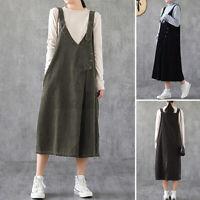 ZANZEA Women Sleeveless V-Neck Adjustable Strap Casual Loose Corduroy Dress Plus