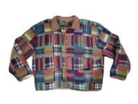 Vintage Foxrun Plaid Wool Bomber Suede Jacket 80s Womens Large Multicolored Rock