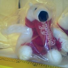 "White 5"" Stuffed Bear and Coca Cola Scarf 2013 Lot L149 Batch 0812 Lot of 13"