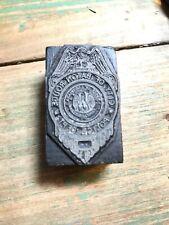 Vintage Printing Press Block Police Dept Baton Rouge LA Seal