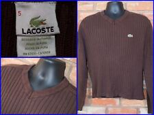 Lacoste Brown Ribbed Knit V-Neck Casual Pullover Preppy Luxe Sweater Mens 5