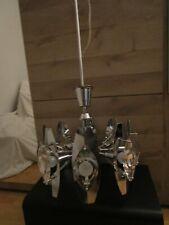 LUSTRE MAX INGRAND 8 FEUX VINTAGE verre et metal lentille  annees 70 1970