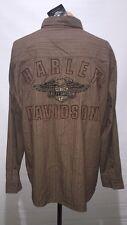Harley Davidson Brown Button Up Logo Long Sleeve Shirt Size M Medium NWT