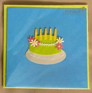 PAPYRUS Birthday Greeting Card Raised Cake Candles Flowers NEW