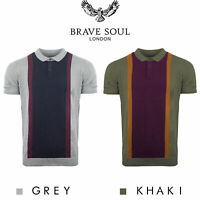 Brave Soul Colour Block Knitted Short Sleeve Jumper Polo