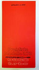 PORSCHE 911 SC 911 TARGA 911 TURBO PREISLISTE MODELL AB 1.1.1979 WVK 191711