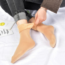 Women's Solid Winter Thick Warm Fleece Lined Thermal Stretchy Socks Elastic New