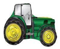 """TRACTOR Shape GREEN John DEERE 32"""" FARM Barnyard Barn Animal Party MYLAR Balloon"""