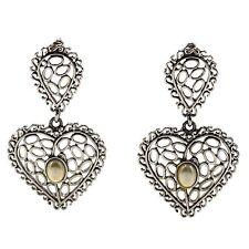 Vintage Costume Jewelry Sweet Heart Filigree Silver Pearl Dangle Post Earrings
