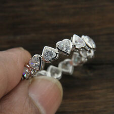 5Ct Heart Of Love Diamond Full Eternity Anniversary Band In Solid 10k White Gold