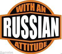 RUSSIAN WITH AN ATTITUDE HELMET TOOLBOX USA MADE BUMPER STICKER DECAL