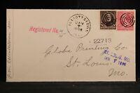 Illinois: Elliotstown 1898 Registered Cover, DPO Effingham Co