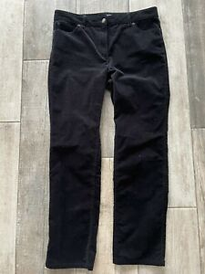 M&S Collection Black Fine Cord Straight Leg Trousers size 12 Short