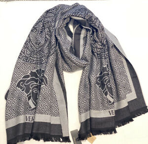 Versace Men's Large Throw Scarf 100% Wool New Authentic Logo Print