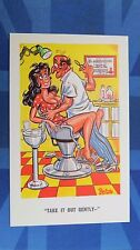 Risque Comic Postcard 1960s Dentist Orthodontist Tooth Pulling INNUENDO Theme
