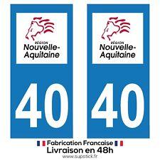 2 STICKERS AUTOCOLLANT PLAQUE IMMATRICULATION DEPT 40 REGION Nouvelle-Aquitaine