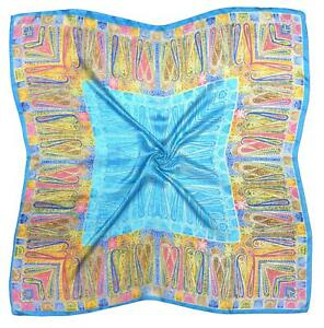 Blue Abstract Print Fine Silk Square Scarf (Z454)