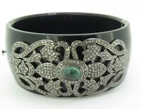 .Vintage 2.15ct Diamond & Emerald Set Silver Black Bakelite Hinged Bangle