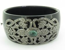 .Vintage 2.15ct Diamond & Emerald Set Silver Black Bakelite Hinged Bangle