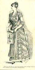 Gravure ancienne 1883 mode robe en voile bleu Marie de Solar issue du livre