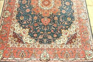 Persiann Tabrizz silk and wool handmade hand knotted rug 210 x 150 cm