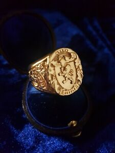 "18ct Gold Plated Oxford  Solid Signet Ring Size V ""Stunning"""