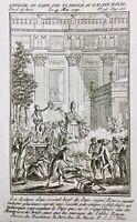 Palais Royal en 1791 Paris Pape Pie VI Brûlé Rare Gravure Révolution Française