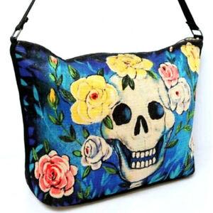 Sugar Skull Handbag Purse Day of the Dead Mexicana Rose Flower Gothic Canvas