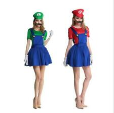 Women Adult Super Mario AND Luigi Workmen Couples Fancy Dress Costumes Outfits