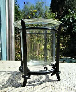 """Glass And Black Wrought Iron Pillar Candle Holder 7"""" Tall"""