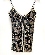 VS Victorias Secret Babydoll Camisole Floral lace Black Gold satin Small
