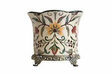Beautiful Chinoiserie Floral Porcelain Planter Orchid Pot Antiqued Brass Accent