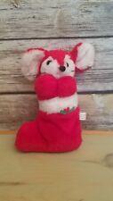 1980 Dan-Dee Imports Christmas Plush Mouse In Stocking Ground Nutshell Filled 8""