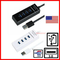 USB 3.0 Hub 4-Port Adapter Charger Data Sync Super Speed PC Mac Laptop Desktop