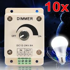 10x 12-24V 8A LED Light Protect Strip Dimmer Adjustable Brightness Controller TL