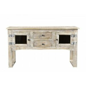 "57"" L Martha Sideboard Hand Crafted Solid Mango Wood Rustic Lime Wash Finish"