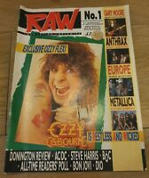 Raw Music Magazine Number One Ozzy Osbourne August 1988